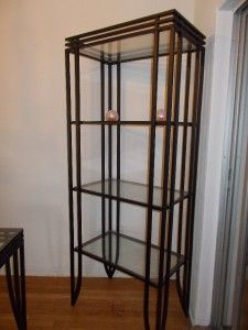 Glass and Black Wrought Iron Dining Table Matching Bookcase