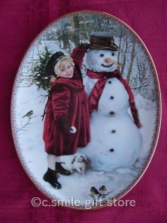 Sandra Kuck FROSTY WINTER FRIENDS plate Bradford MINT w box COA