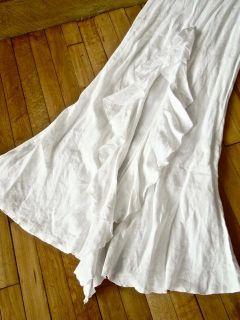 New Jane Booke White Linen Ruffle Train Wedding Dress 2