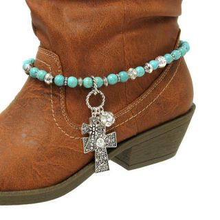Colored Beads Boot Anklet Bracelet with Cross Charm for Boots