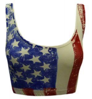 New Womens Ladies USA Print Bralet 8 14