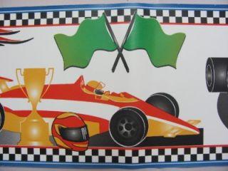 Formula 1 Racing Race Cars Racetrack Flag Self Adhesive Wallpaper Wall