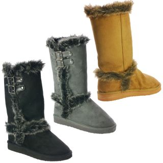 Womens Winter Cute Furry Faux Suede Flat Boots Mid Calf Brown Black