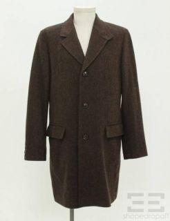 Boss Hugo Boss Brown Black Herringbone Wool 3 4 Length Mens Coat Size