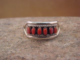 Zuni Indian Sterling Silver Coral Ring Size 7 3 4
