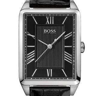 New Hugo Boss 1502257 Black Rectangular Dial Black Leather Strap Women