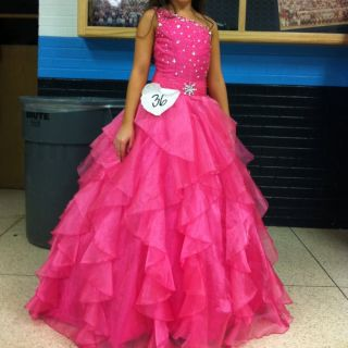 Beautiful Pageant Formal Dress Long Youth Child Pink