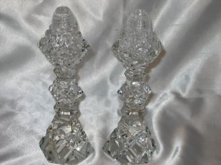 Antique Large Crystal Glass Art Deco Salt Pepper Shakers 8 25in Tall