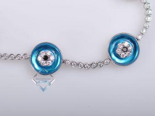 18K White Gold Diamond and Blue Topaz Evil Eye Bracelet