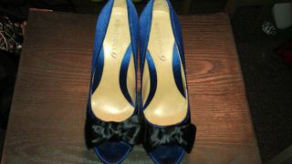 Boutique 9 Blue Suede Peep Toe Heels Size 7 1 2 Great OFFER Best Buy