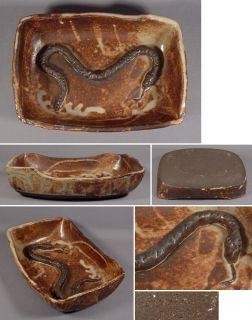 Slab Built Studio Art Pottery Bowl Applied Snake Inside California