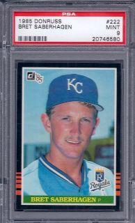 1985 Donruss Baseball Bret Saberhagen RC #222 PSA 9