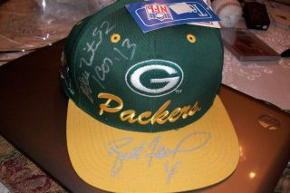 RARE REGGIE WHITE BRETT FAVRE SIGNED GREEN BAY PACKERS NFL HAT AUTO