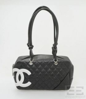 chanel black white quilted leather cambon bowler bag