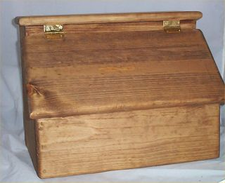 Bread Box Solid Hard Wood Stained Golden Oak Handcrafted In USA