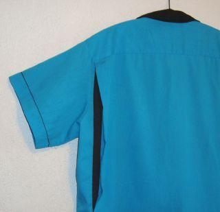 Retro 1950s Bowling Shirt Vintage Style Aqua Black Las Vegas Santa FE