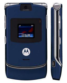 NEW in BOX MOTOROLA V3 BLUE UNLOCKED AT T T MOBILE GSM PHONE