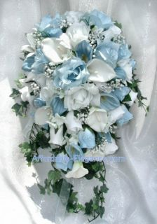 Calla Lily Roses Bridal Cascade Bouquet Silk Wedding Flowers