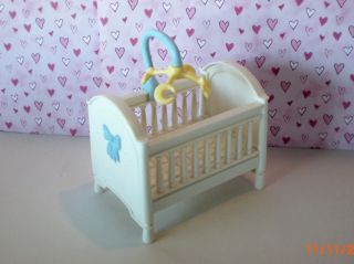 Price Loving Family Dollhouse Nursery Baby Boys Crib & Blue Mobile