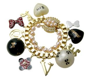 disney couture minnie mawi gold love charm bracelet