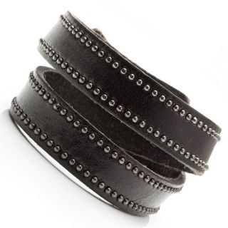 Stunning Deep Brown Studded Mens Leather Bracelet Cuff Jewelry
