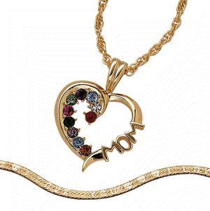 Birthstone Necklace 14k Gold Family Pendant Austrian Crystal Bracelet