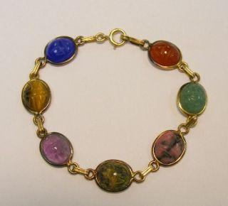 Vitnage 14k Gold Egyptian Scarab Beetle Gem Bracelet