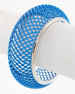 New Blue Enamel Cut Out Chunky Bangle Cuff Bracelet Silver Tone Wide