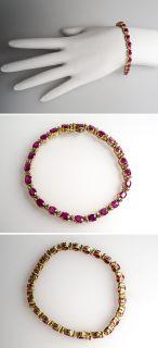Ruby & Genuine Diamond Tennis Bracelet 14K Gold Fine Estate Jewelry