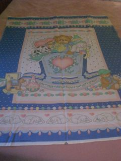 Bear Dog Toys in Cradle Baby Quilt Fabric Craft Panel