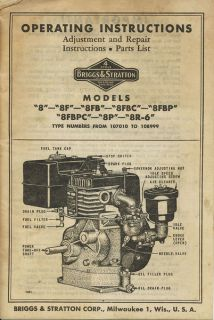 BRIGGS & STRATTON MODEL 8 REPAIR MANUAL PARTS OWNERS SERVICE OPERATORS