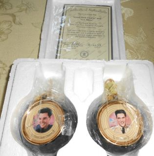 NIB BRADFORD ELVIS CHRISTMAS ORNAMENT SET GOOD LUCK CHARM G I BLUES W