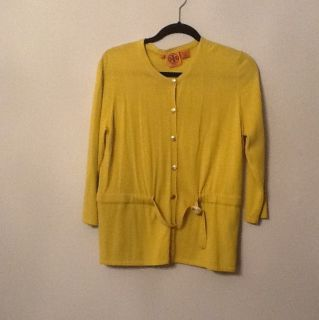 Tory Burch Braeden Citron Golden Yellow cardigan sweater logo L Large
