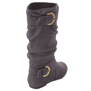 Brinley Co Womens Buckle Accent Faux Suede Slouchy Boot