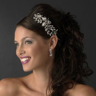 New Silver Plated Side Accent Rhinestone Bridal Headband