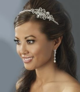 New Wedding Crystal Pearl Side Accent Wedding Headband and Bridal