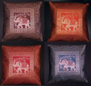 Handmade Indian Silky Cushion Pillow Cover Brocade Elephant Decoration