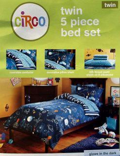 Space Rockets Blast Off Glow in Dark Twin Comforter Sheets 5pc Bedding