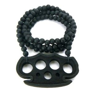 Black Brass Knuckles Wood Wooden Pendant Beaded Necklace Hip Hop Style
