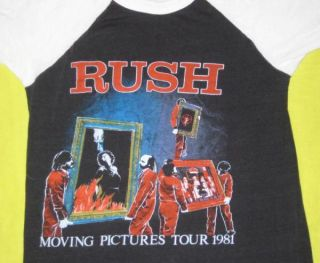 1981 Rush Moving Pictures Vtg Tour Jersey T Shirt OG