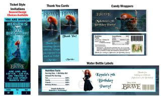Brave Movie Princess Merida Birthday Party Ticket Invitations Supplies