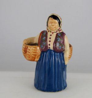 Brayton Laguna California Pottery Peasant Lady w Basket