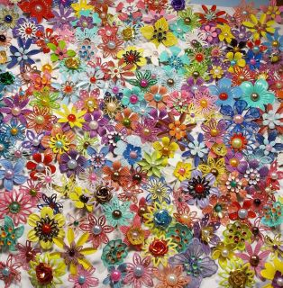 Lot of 500 Small Colorful Enamel Metal Flower Brooches Pins