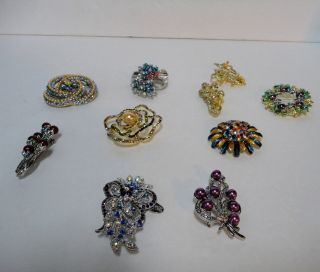 01 Lot of 10 Quality Rhinestone Brooches Pins Lot 4