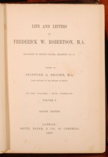 1866 2 Vol Life Frederick Robertson Brighton Brooke