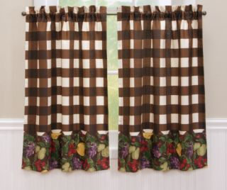 Chocolate Check Fruit Kitchen Curtain 24 Tiers New Brown Check Plaid