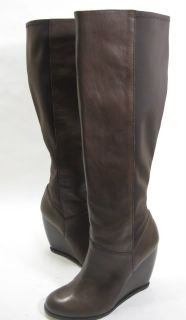 WOMENS CONFIDENTIAL KNEE HIGH WEDGE BOOT DARK BROWN LEATHER SIZE 7 M