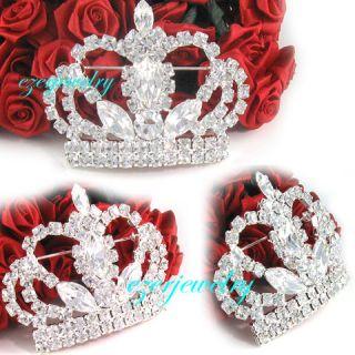 King Royal Crown Tiara Wedding Clear Crystal Pin Brooch