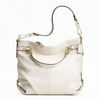 17165 Brooke White Leather Shoulder Bag Elegant New $358 Beautiful