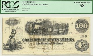 1863 $100 CONFEDERATE STATES CIVIL WAR CURRENCY   TRAIN   PCGS CHOICE